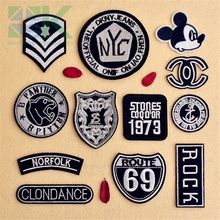 Buy SK DIY Patches Fashion mixed black 12 pcs embroidered badge patch iron cloth decoration repair hole garment appliques DI for $20.71 in AliExpress store