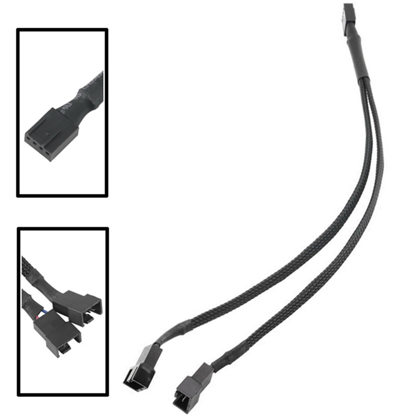 Del 4-Pin Fan 4P Cable One Point Two PMW Fan Y Splitter Black Sleeved Extension Cable Jun13(China (Mainland))