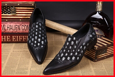 Здесь можно купить  New Arrival 2015 Hot Brand Mens Italian Leather Shoes Classic Oxford Shoes Skull Slip-on Male Nightclub Party Oxfords Size 46  Обувь