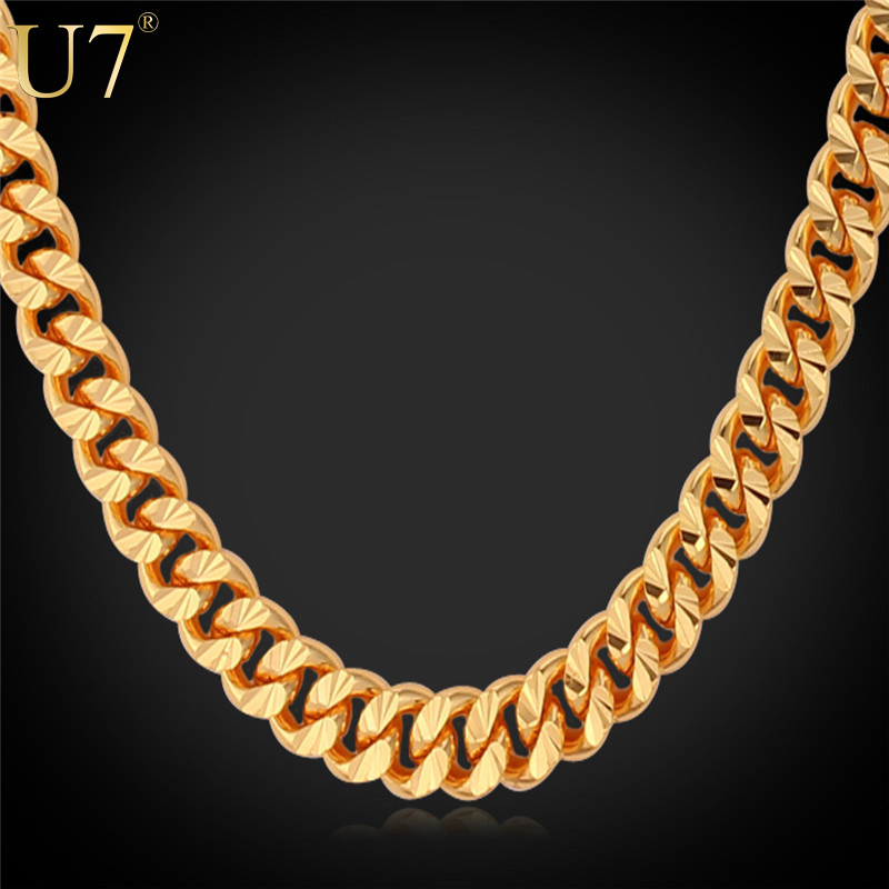 """U7 Gold Necklace With """"18K"""" Stamp Trendy 18K Gold Plated 7 MM 18/22/26 Inches Long Cuban Link Chain Necklace Men Jewelry N383(China (Mainland))"""