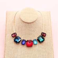New Fashion High Quality Glass Crystal Simple Colorful Gems necklace Statement Necklaces Fashion Jewelry Women