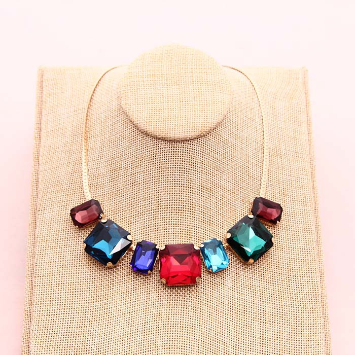 New Fashion High Quality Glass Crystal Simple Colorful Gems necklace Statement Necklaces Fashion Jewelry Women(China (Mainland))