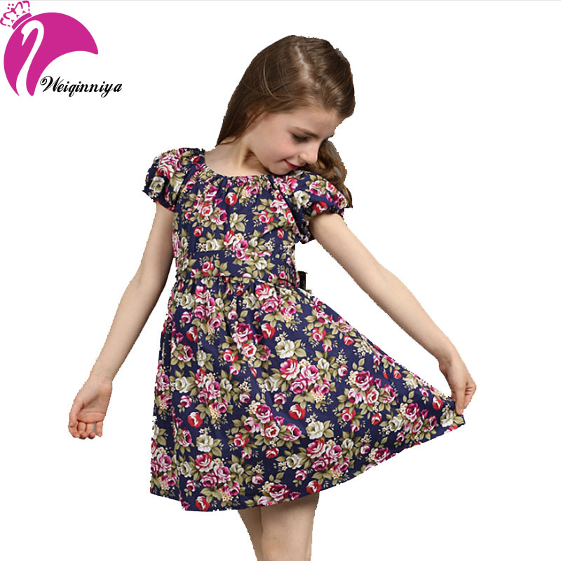 Hot Sale Summer New 2016 European Style Girl Dress Baby Girls Print Flowers Floral Dresses Cotton