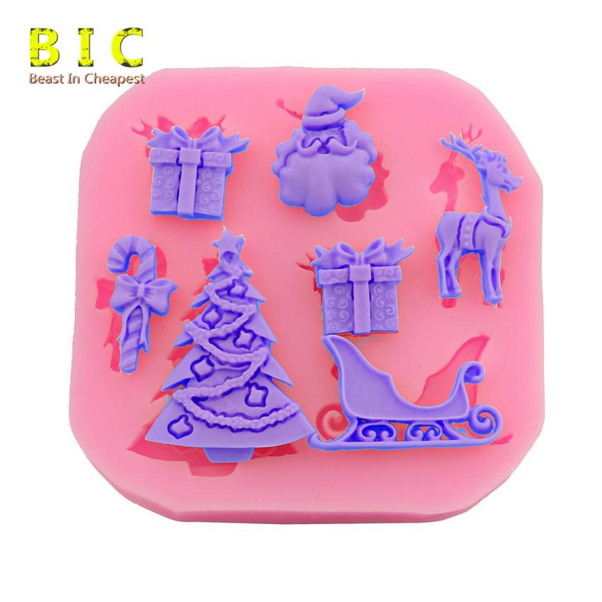 3d silicone moulds DIY Many 7pcs patterns Christmas tress Umbrella box gift Santa Claus Sleigh Giraffe shape cake tools mold(China (Mainland))
