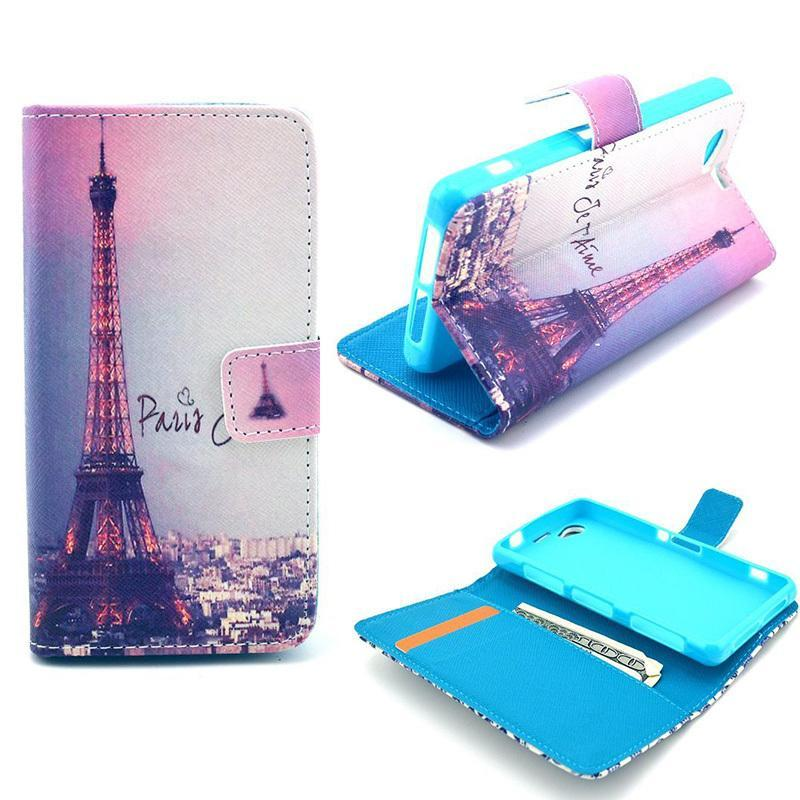 Eiffel Tower Paris A10 Wallet PU Leather Skin Huawei Y300 Case Cover Huawei Ascend Y300 U8833 + Free Screen Protector(China (Mainland))