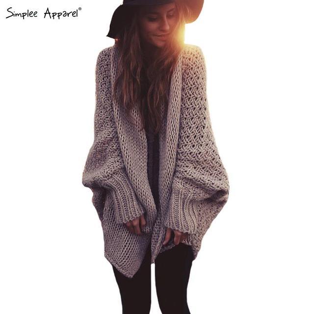 Simplee Apparel batwing Вязанный Длинный кардиган свитер coat Женщины Autumn winter ...