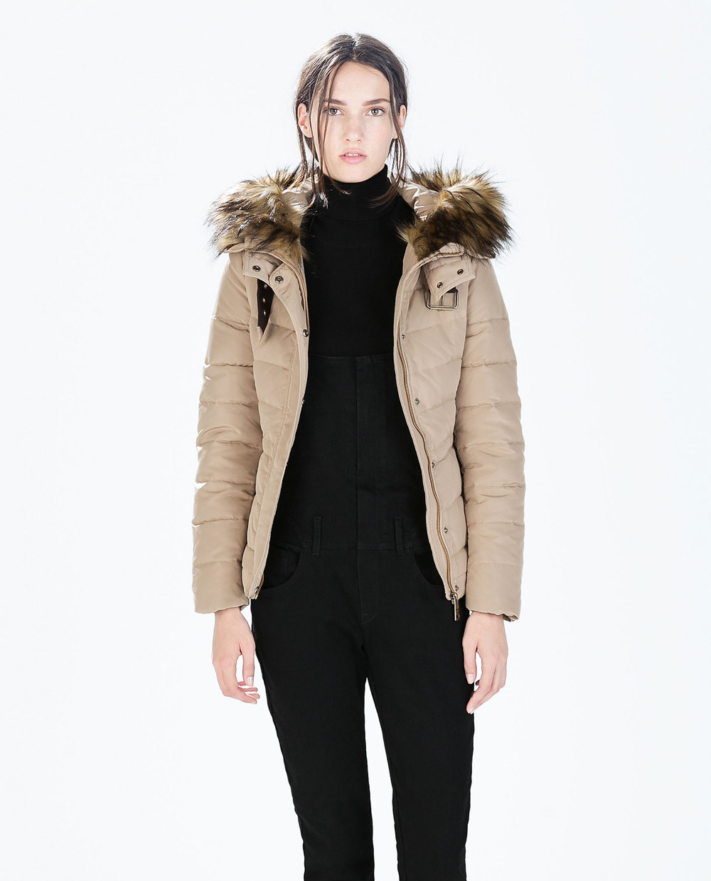 Short Parka Jacket With Fur Hood