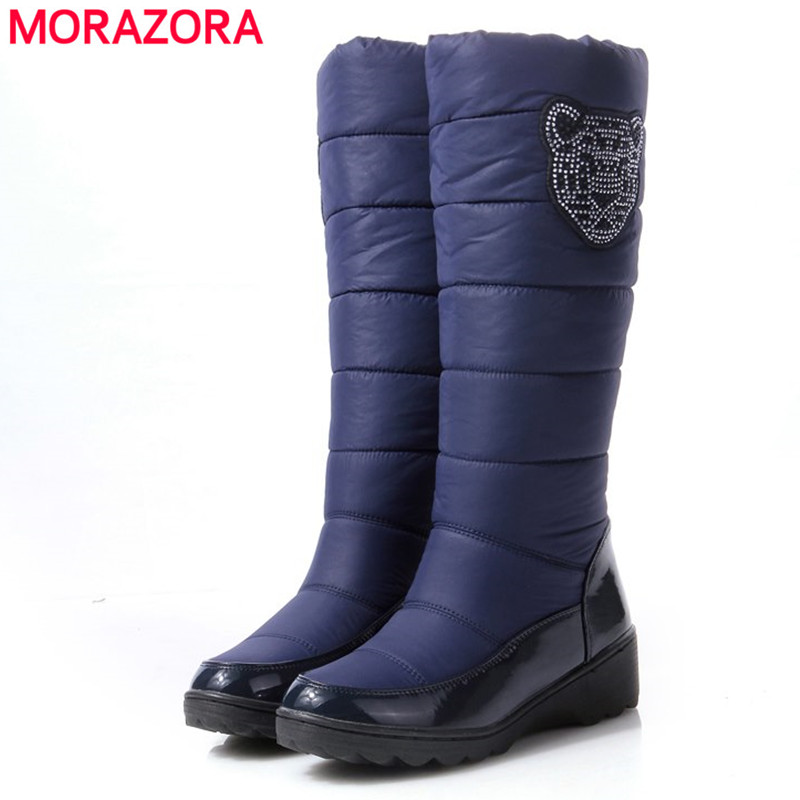 2016 fashion winter boots patent leather platform fur inside warm knee high snow boots for women Cotton shoes black blue brown(China (Mainland))