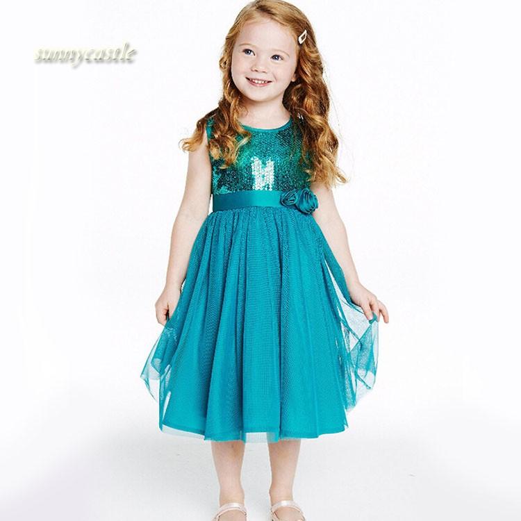 Cute Kids Girls Fashion O-Neck Sleeveless Net Yarn Patchwork Sequins Decoration Dress - SunnyCastal store