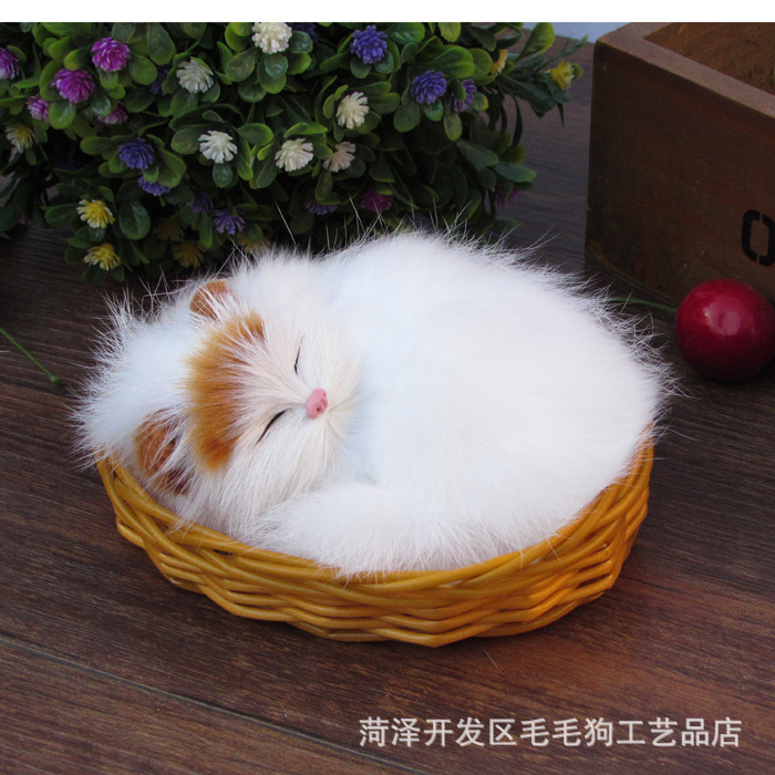 simulation animal sleeping cat about 13x10cm toy model with basket , polyethylene & furs resin handicraft,Decoration gift h406(China (Mainland))