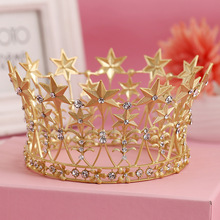 Fashionable Gold Plated Clear Crystal Tiara Crown Headband Lucky Star Wedding Party Hair Accessories For Bridal Hair Jewelry(China (Mainland))