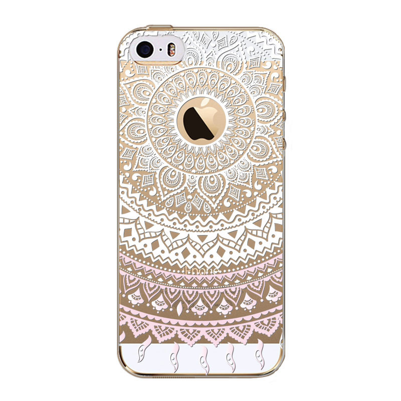 For iPhone 5C Phone Cases Coque Transparent Protective Cover White Floral Paisley Flower Mandala Soft TPU Ultra Thin New Arrival