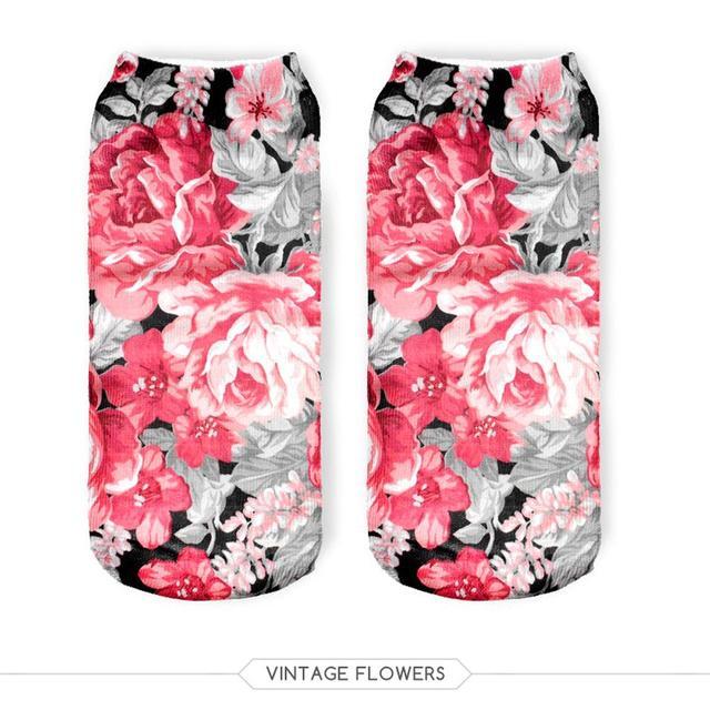 Новый 3D отпечатано цветы носки симпатичные глубоким вырезом лодыжки носок несколько ...
