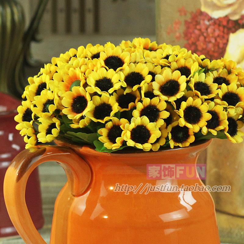 Furnishings fun 30 sunflower artificial flower silk flower home decoration wedding gift(China (Mainland))