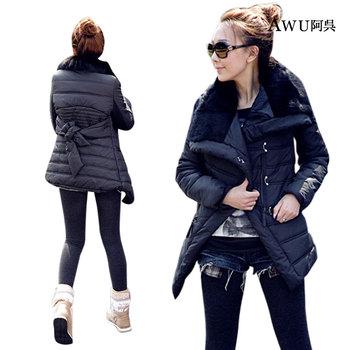 Куртка хлопок - мягкий длинная, естественная мех нагрудные одежда осень зима пиджаки женщины средний -