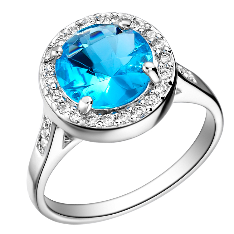 925 Sterling Silver Engagement Rings for Women Love Blue Big Sapphire Crystal Wedding Ring Jewelry Rainbow 20% off Ulove J075(China (Mainland))