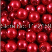 Free Shipping 1000Pcs Round Ball Loose Red Pearl Glass Spacer Beads 6mm For Jewelry Making Craft DIY(China (Mainland))