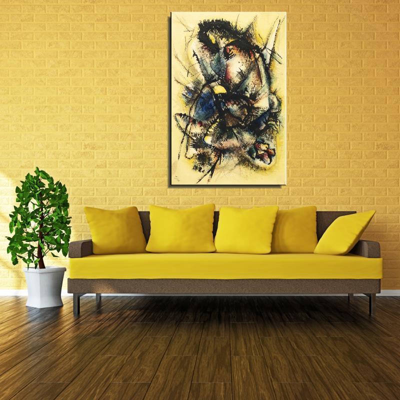 Graffiti Cartoon Abstract Wassily Kandinsky Frameless Spray Canvas Unframed Oil Painting miniature living room design art(China (Mainland))
