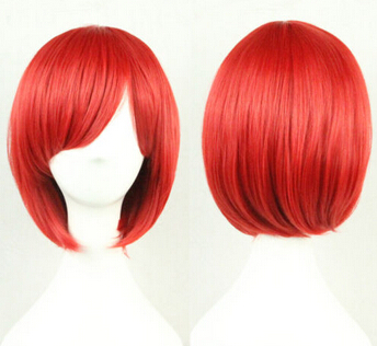 xiuli 0003278 Red Anime Short Straight Wig Cosplay Fancy Party Dresses Hair Cosplay Full Wigs