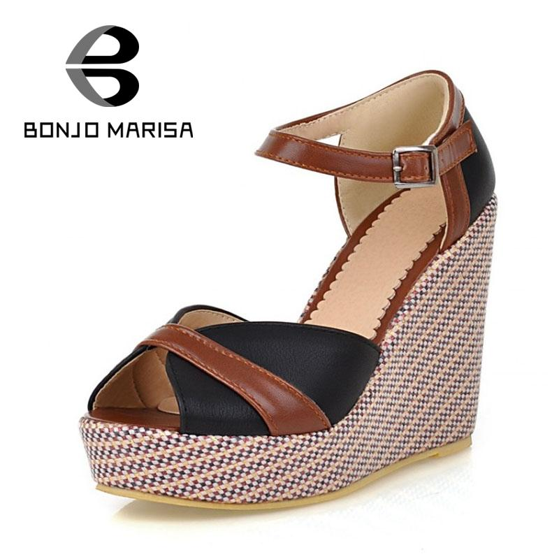 2015 Women Wedge Sandals Classic Mary Jane Ankle Straps High Heels Open Toe Summer Shoes