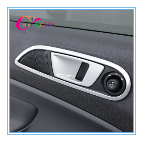 Car Covers Abs Chrome Interior Trim Doors Hand Clasping Decorative Ring Sticker Case for Ford Ecosport Fiesta Auto Accessories(China (Mainland))