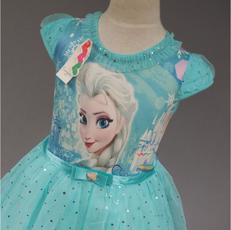 Froze Fever Girl Elsa Girls dresses cartoon lovely lace princess pink blue Baby dress for party(China (Mainland))