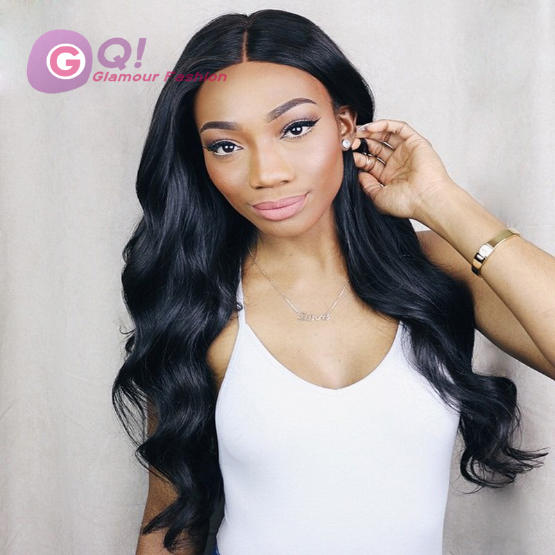 Фотография glueless full lace wigs human hair body wave side part with thick bangs8A brazilian full lace wig body wave wig for black women