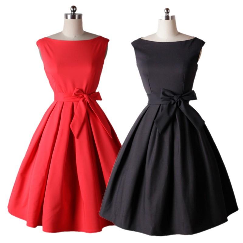 Red black tie dress