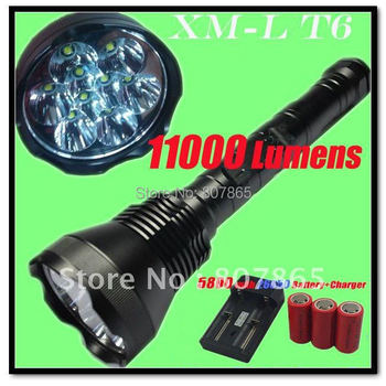11000lm 9x CREE XM-L T6 LED Super Power Flashlight Torch +3x26650 5800mAh Batteries+Charger Free Shipping