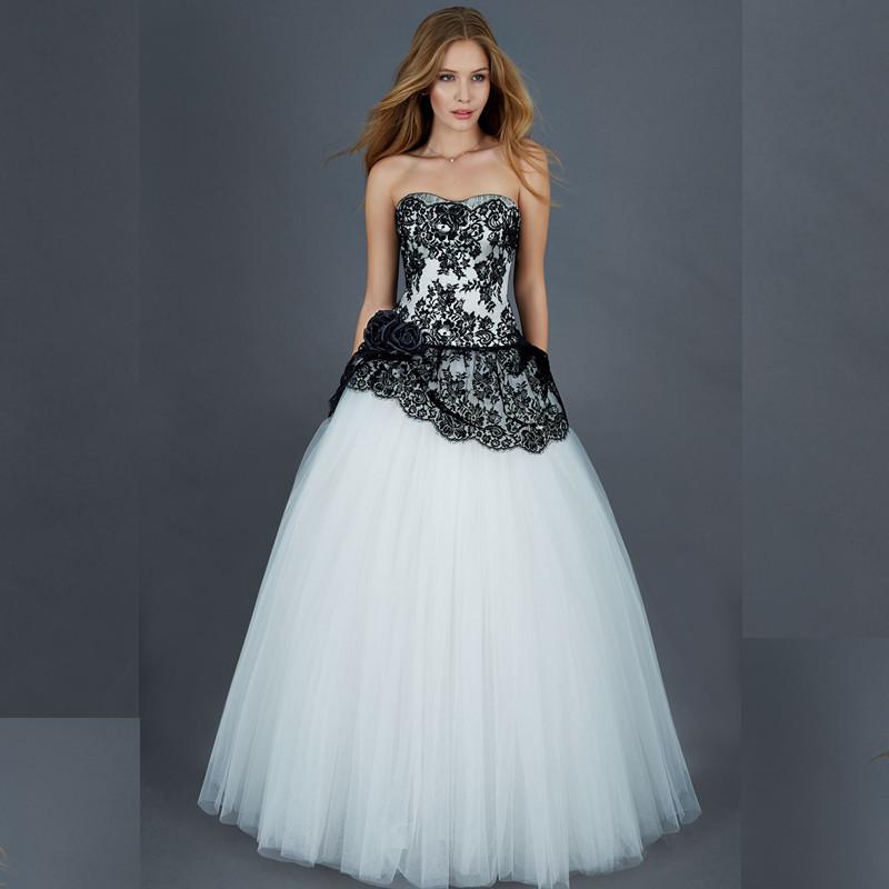 Wonderful 2016 new sweetheart whitetulle black lace flower for Black tulle wedding dress