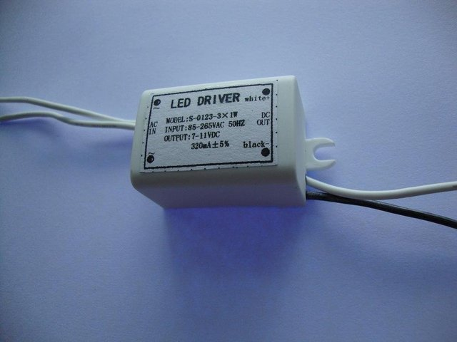 LED Constant current driver;3*1W;AC85-265 input;3-5VDC/310ma output;P/N:S-0109