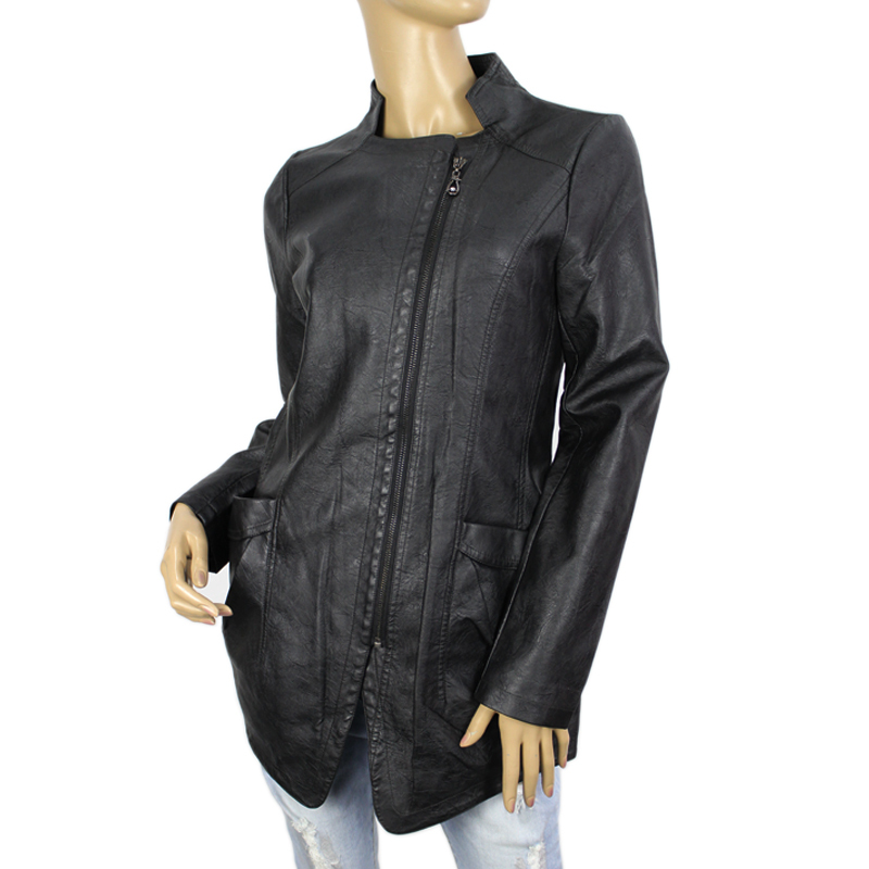 Winter Womens PU Leather Hot Sale Jacket And Coat women Stand Collar European Zip Closure Large