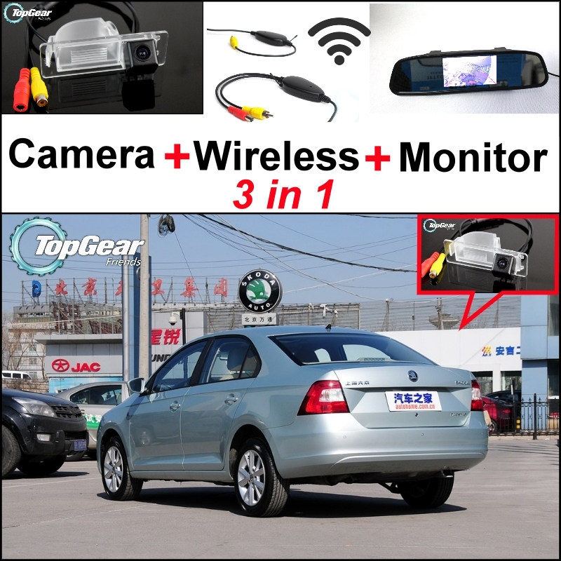 3 in1 Special Rear View Camera + Wireless Receiver + Mirror Monitor Easy Back Up Parking System For Skoda Rapid Sedan 2012~2015<br><br>Aliexpress