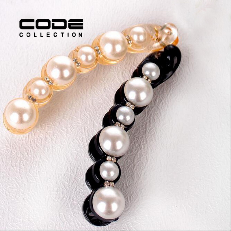 Big Simulated Pearl Hair Clips for Women Hot Sale Long Banana Barrettes Korea Fashion Girls Hair Accessories(China (Mainland))