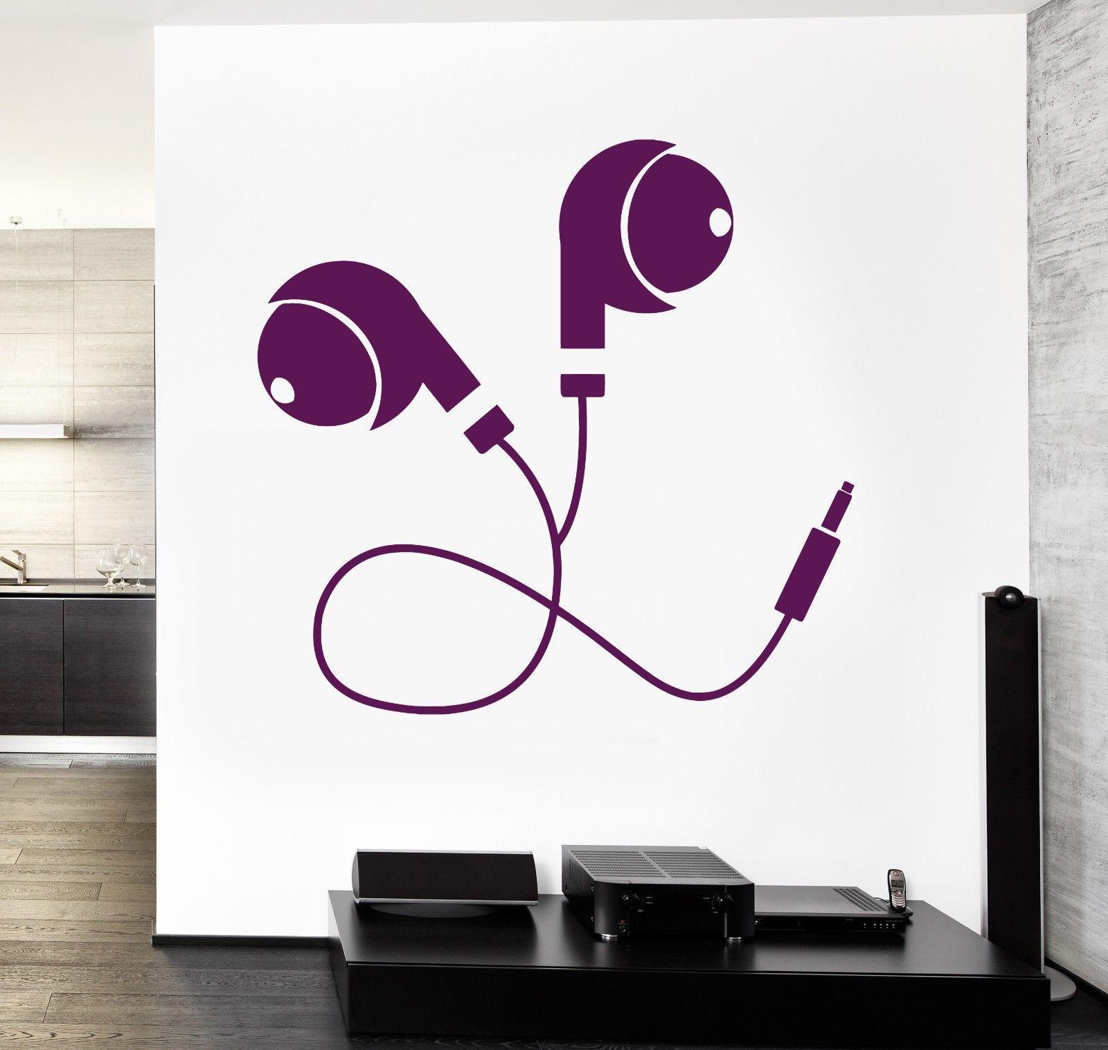Wall Vinyl Music Earphone Head Phones Headphones Guaranteed Quality Decal Free shipping(China (Mainland))