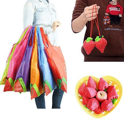 Large Strawberry Eco Shopping Travel Tote Bag Folding Reusable Grocery Nylon Bag(China (Mainland))