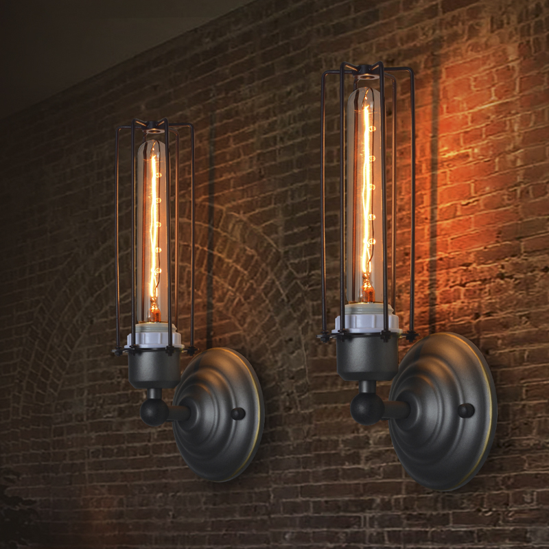 American style retro iron art industrial wall lamp for Decoration murale one piece