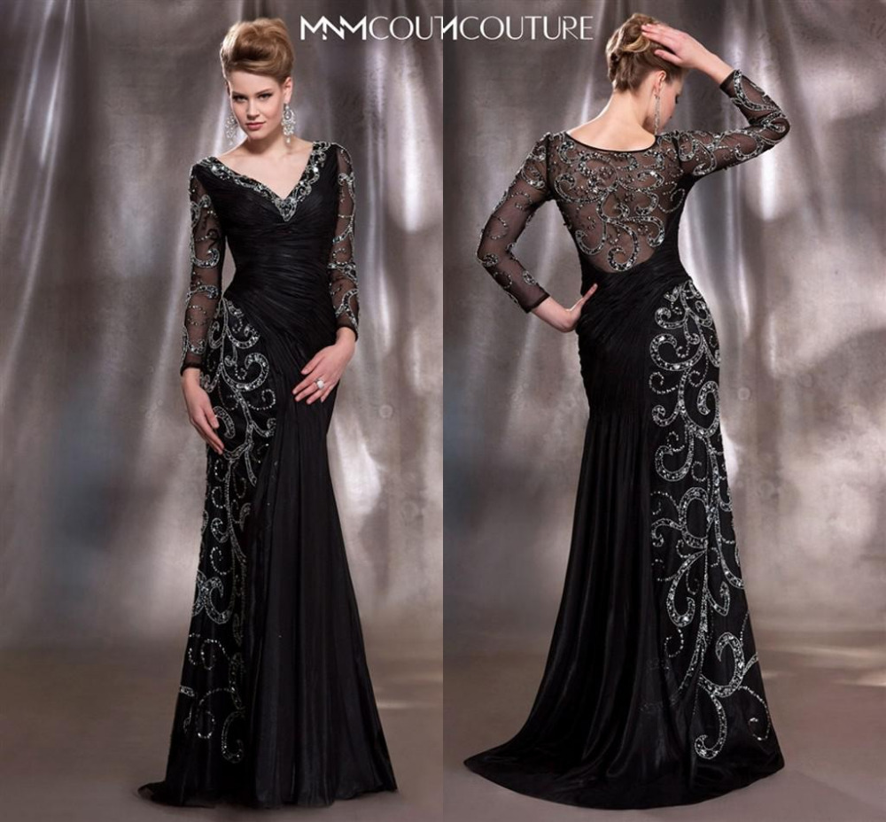 2015 Mother Bride Dresses Elegant Black Gold V Neck Long Sleeve Sheath Sequins Crystal Beads Chiffon Ruched - Love yarn dress store