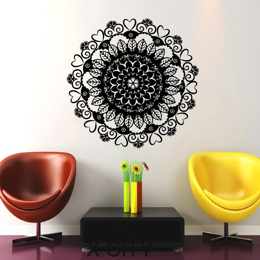 Wall Mandala Decal Ornament Geometric Indian Moroccan Pattern Namaste Lotus Flower Om Yoga Vinyl Sticker Home Art Room Decor(China (Mainland))