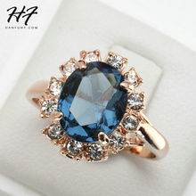 Buy Top Rose Gold Color Blue CZ Cubic Zirconia Ring Bague Fashion Cubic Zirconia Anniversary Jewelry Women anel R189 for $1.99 in AliExpress store