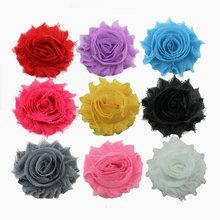 30pcs lot High quality 2 5 Chiffon chic shabby frayed chiffon flowers for headband Free shipping