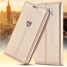 For Galaxy S6 Cases Gold Business Style Ultra Flip Real Genuine Leather Case For Samsung Galaxy S6 G9200 Wallet Holster Cover(China (Mainland))