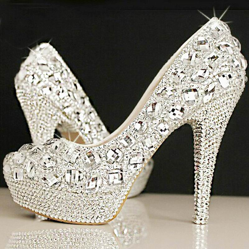 Crystal bridal shoes rhinestone handmade female silver high heels platform wedding shoes women pumps(China (Mainland))