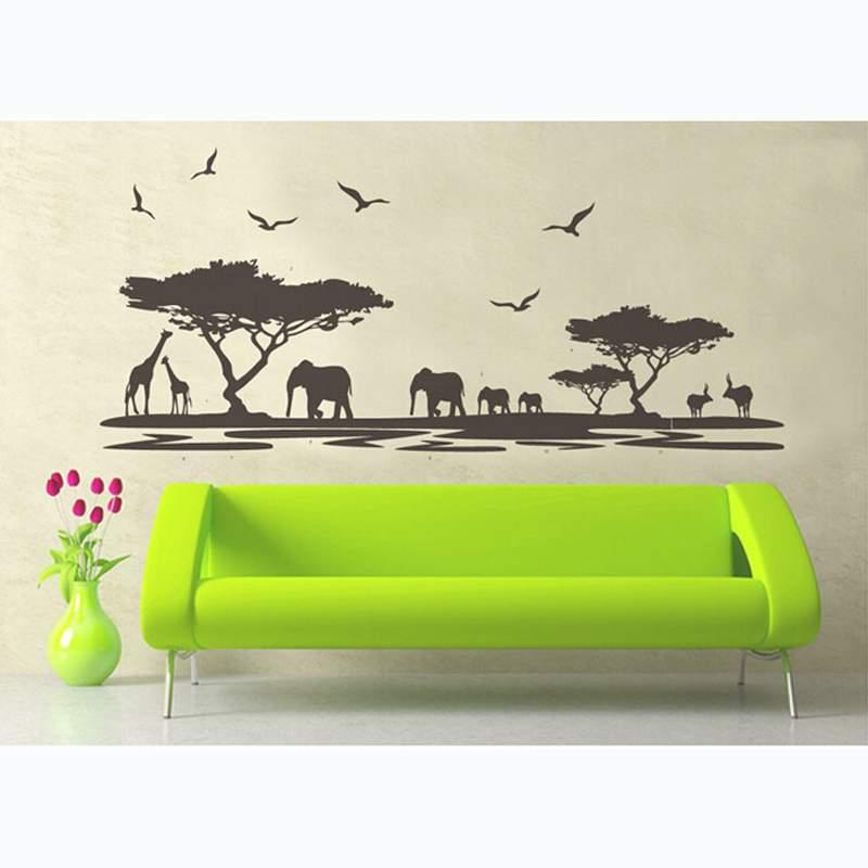 Animal Wall Stickers Jungle African Tree Nursery Baby Kids Bedroom Decors Art(China (Mainland))