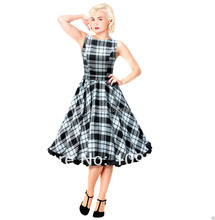 free shipping Swing Tartan Dress Vintage 50s Rockabilly Party Wedding Pin-Up