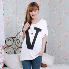 Maternity Tops Short Sleeve Loose Letter T Shirt Clothes for Pregnant Women Cotton Clothing for Pregnancy Wear 2015 New Fashion(China (Mainland))