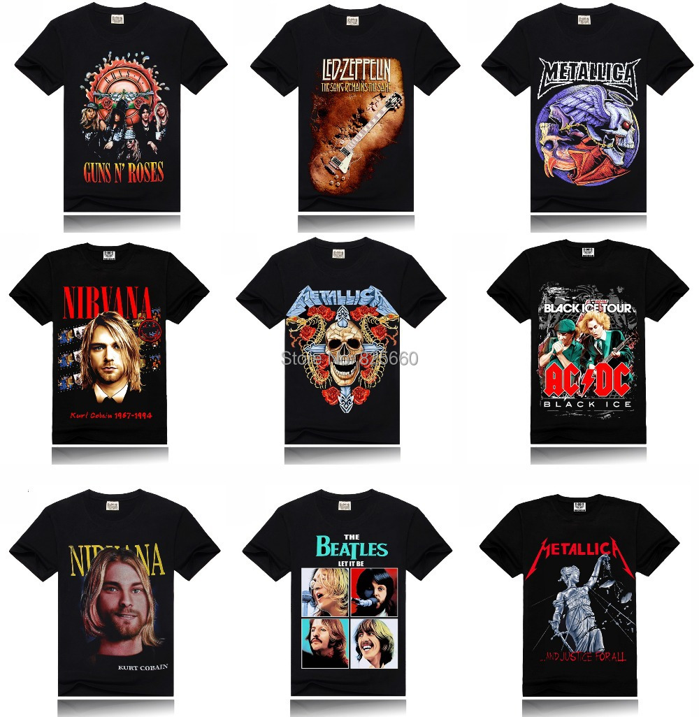 Led Zeppelin AC DC Metallica Beatles Nirvana Guns N' Roses Rock 3D Printed Men's Men T Shirt T-shirt Short Sleeve top XXXL - Store No.825660 store