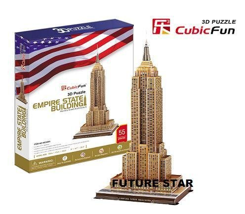 Freeshipping! The Empire State Building  Cubic Fun 3D Jigsaw Puzzle 3D paper model DIY puzzle Educational toys MC048h