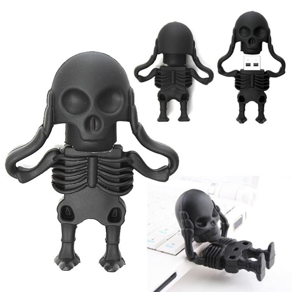 Cool Thumbdrive 64GB 32GB Skull Skeleton USB Flash drive Real capacity 16GB 8GB 4GB Thumbdrive memory stick pen drive(China (Mainland))