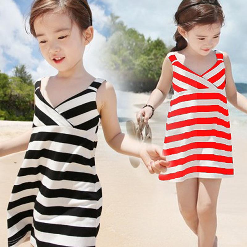2015 new girls summer stripe dress children cotton princess clothing baby kids beach sleeveless clothes garment(China (Mainland))
